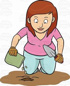 Cartoon Clipart: A Woman Planting Seeds