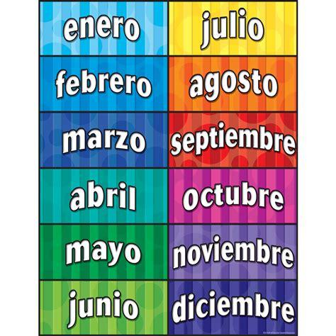 months   year spanish chart tcr teacher