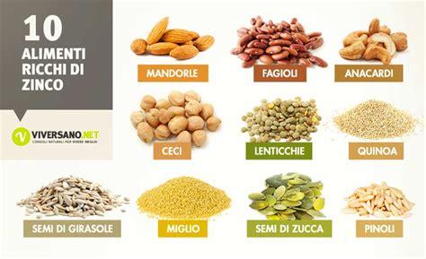 alimenti ricchi  zinco quali sono ecco  alimenti
