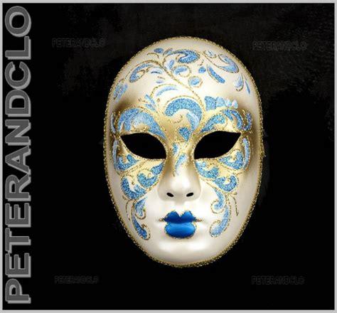 bureau en informatique masque de venise volto bleu et dore authentique carnaval