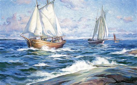 Images Of Boats At Sea by Boats At Sea Painting By Serguei Zlenko