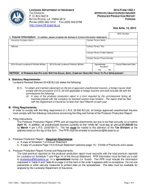 Am best collectively rates chubb and forty nine (49) insurance subsidiaries, including westchester surplus lines insurance company. Fillable Online ldi la Form 1262.1 2013 Foreign Producer Production Report - Louisiana ... - ldi ...