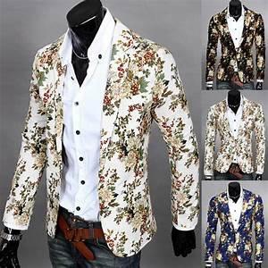 2019 Wholesale Mens Floral Suit Blazer Jacket Coat Slim