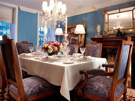 traditional blue dining room  ornate chandelier