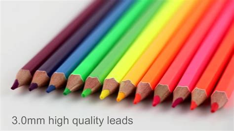 12 Neon Color Best Art Pencils With High Quality Lead