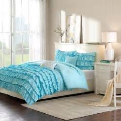 details about beautiful modern ruffled baby blue girls teen 3pc comforter set full queen twin