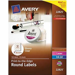 Avery round easy peel labels 2quot diameter clear 120 pack for Avery clear round stickers
