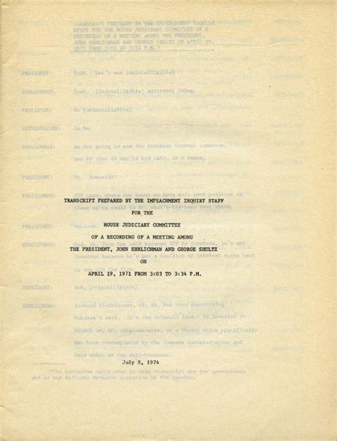 impeachment watergate transcript 1974 judiciary committee nixon trial