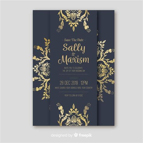 Retro ornamental wedding invitation template Vector Free