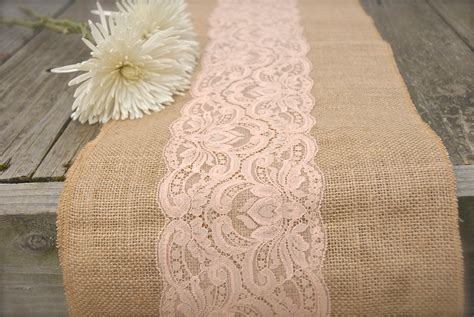 burlap table runner with lace burlap and lace table runner peach lace choose size