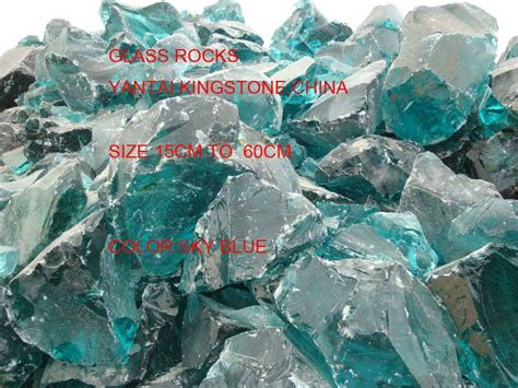 aqua blue big glass rocks  garden buy landscaping