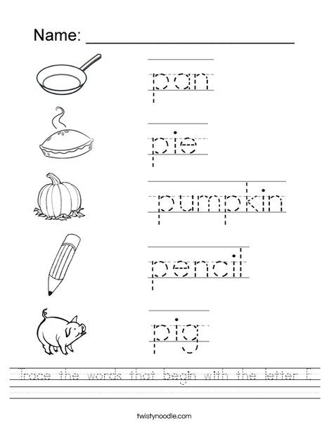 trace the words that begin with the letter p worksheet 440 | trace the words that begin with the letter p worksheet png 468x609 q85