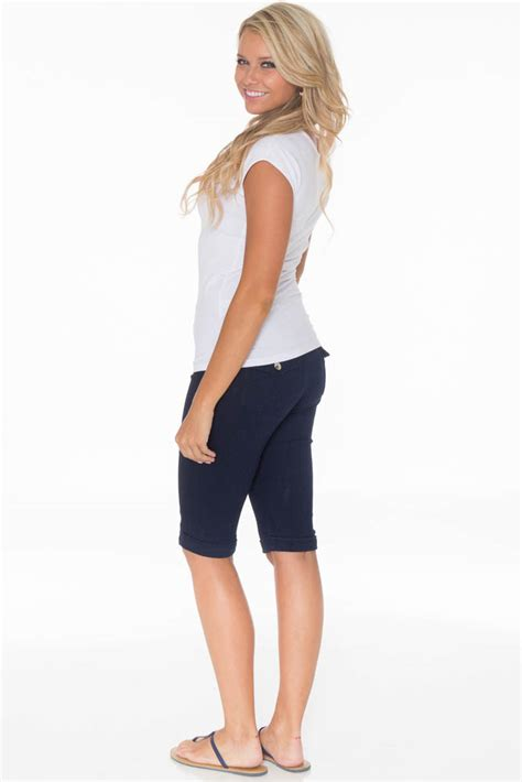 colored shorts s modest bermuda shorts in navy colored denim