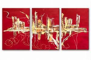 triptyque abstrait rouge panoramique design,tableaux contemporains rouge rectangle