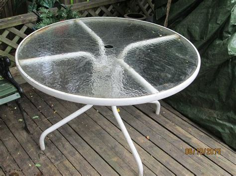 patio table with glass top white 42 inches kanata