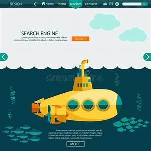 Submarine Undersea. SEO Website Vector Template Stock ...