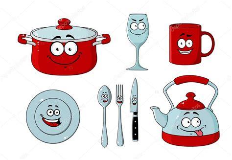 dessin d ustensiles de cuisine dessin animé ensemble de vaisselle et ustensiles de