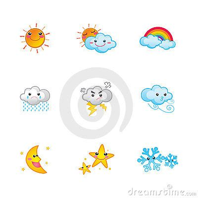cute weather icons royalty  stock photography image