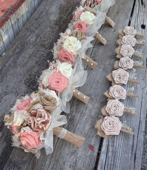 beautiful peach burlap  champagne silk wedding bouquets