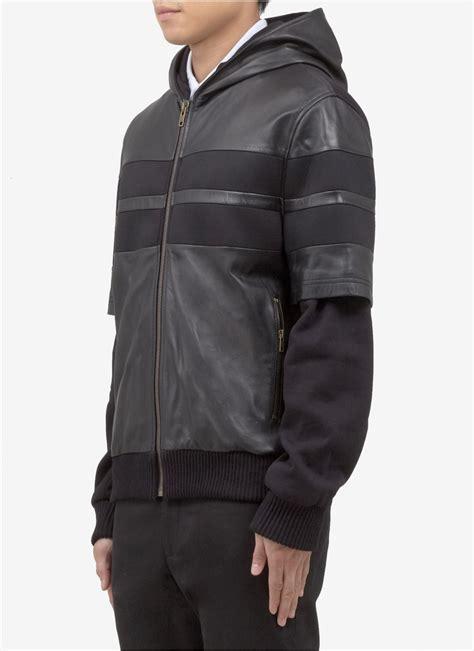 s grey zip up hoodie lyst givenchy leather hoodie jacket in black for