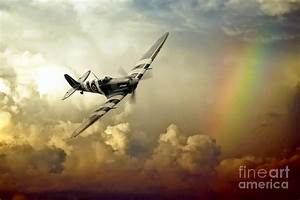 Spitfire Passing Through The Storm Digital Art by J Biggadike