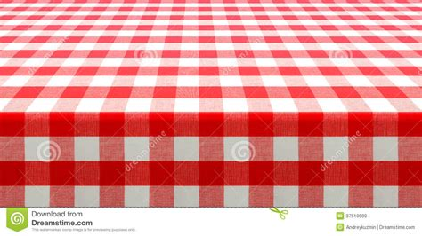 table perspective view  red checked picnic tablecloth