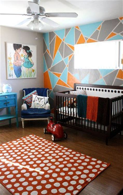 colorful nursery  geometric accent wall pictures