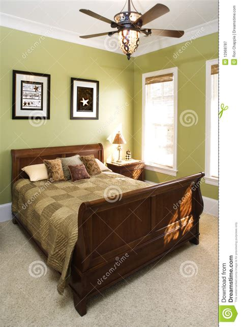 green bedroom  ceiling fan stock image image