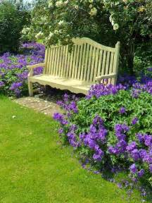 Purple Garden Flowers Bench