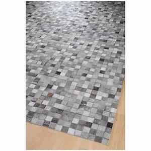 Tapis Cuir Patchwork : tapis en cuir gris rodjer patchwork damier home spirit ~ Teatrodelosmanantiales.com Idées de Décoration