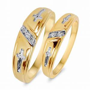 1 20 carat tw diamond his and hers wedding band set 14k for Wedding rings his and hers sets