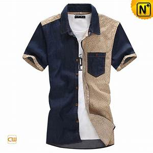 Button up Denim Short Sleeve Shirts for Men CW114233