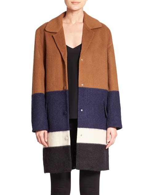color coat lyst of pearl montiague colorblock wool blend