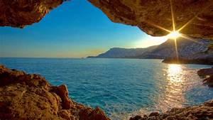 Fond Ecran Mer : vue sur mer de soleil mer grotte nature paysage fond d ~ Farleysfitness.com Idées de Décoration