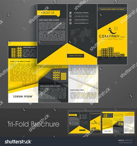 3 Fold Brochure Design Templates by Professional Business Three Fold Flyer Template Stock