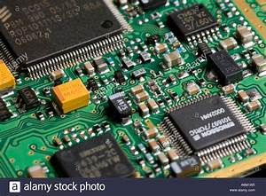 printed circuit board showing surface mount components ...