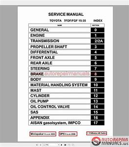 Auto Repair Manuals  Toyota Forklift Truck Full Set Manual Dvd