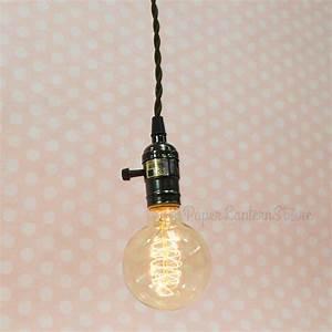 Single pearl black socket pendant light lamp cord kit w