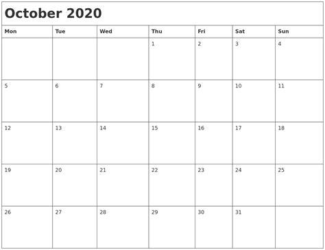october  month calendar