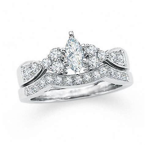 1 ct t w marquise diamond bridal set in 14k white gold