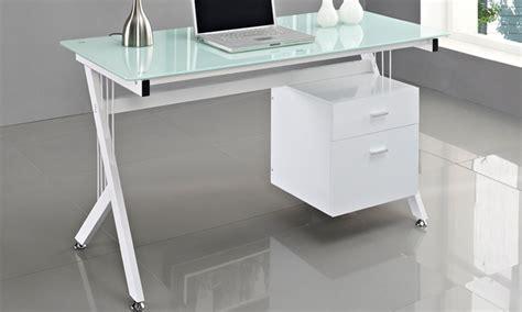 bureau dessus verre jusqu 39 à 50 bureau avec dessus en verre groupon