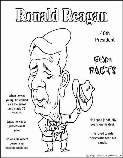 Coloring Presidents President Pages Reagan Ronald Facts