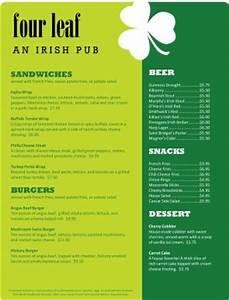 irish pub menu irish menus With irish menu templates