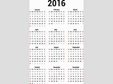 Simple calendar for 2016 Calendar template Stock