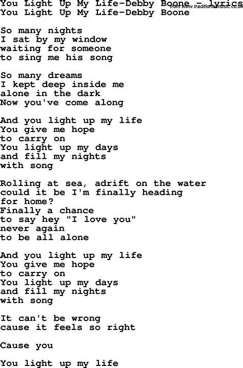 you light up my lyrics song lyrics for you light up my debby boone