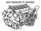 Coloring Engine Ferrari F1 sketch template