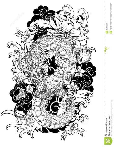 Hand Drawn Dragon Tattoo , Coloring Book Japanese Style Stock Illustration - Illustration of