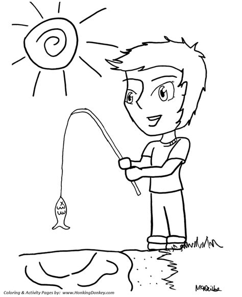 anime coloring pages boy fishing anime coloring page
