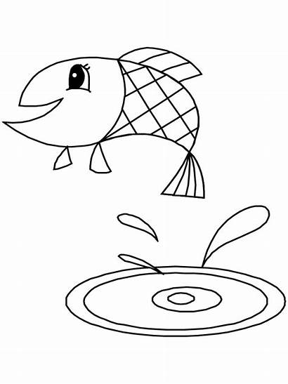 Coloring Pages Fish Easy Animals Simple Template