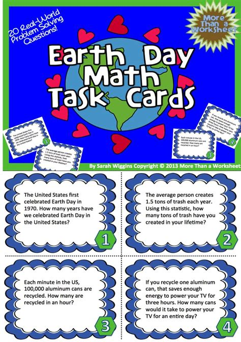 earth day math task cards recording sheets worksheets